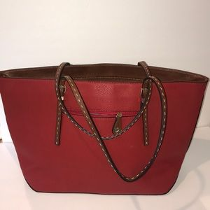 Vegan red leather bag with brown leather handles